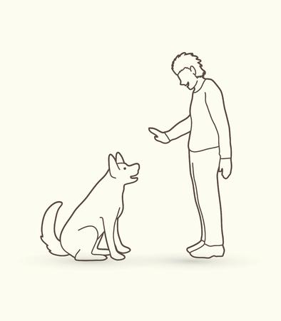 dog: Dog training , A man training a dog outline stroke graphic vector. Illustration