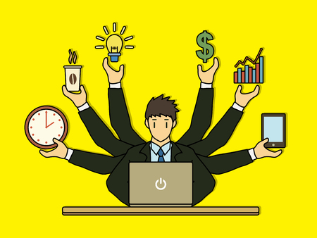 Busy Businessman with many hands holding many items graphic vector