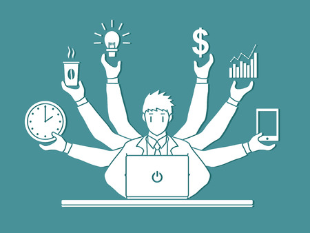 smart goals: Busy Businessman with many hands holding many items graphic vector