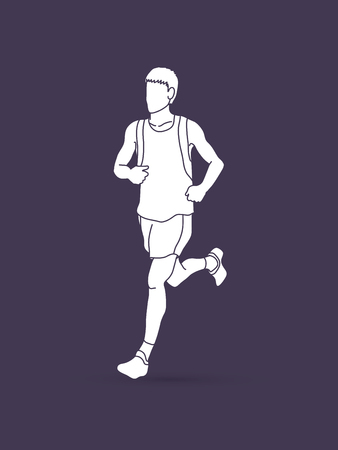 run way: Running man, sport man sprinter, marathon runner graphic vector.