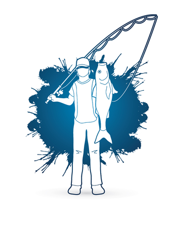 Fisherman standing and show big fish designed on splash water background graphic vector