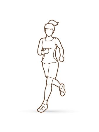 running: Running woman silhoutte