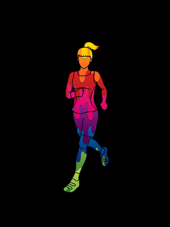 fast foot: Running woman in black background Illustration