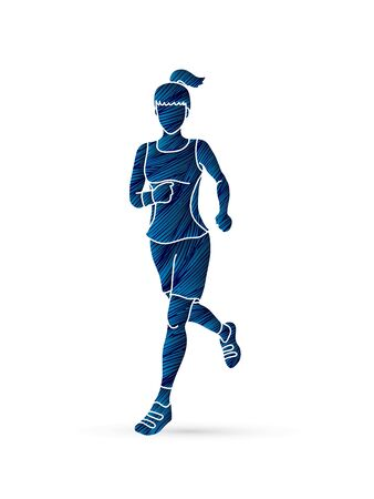 run way: Running woman, sport woman sprinter, marathon runner designed using blue grunge brush graphic vector Illustration