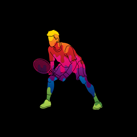Tennis player action , Man play tennis designed using melting colors graphic vector.
