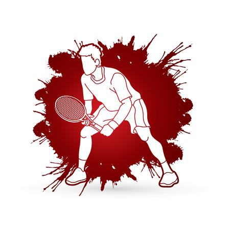 테니스 선수 행동, 남자 플레이 테니스 스플래시 잉크 배경 그래픽 벡터 설계. 일러스트