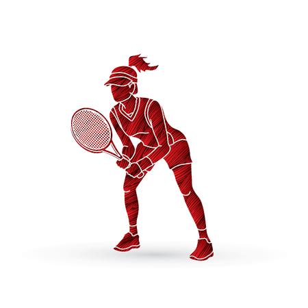 Acción del jugador de tenis, tenis del juego de la mujer diseñado usando vector gráfico del cepillo del grunge rojo. Foto de archivo - 80381489