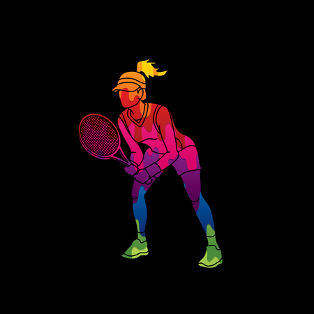 Tennis player action , Woman play tennis designed using melting colors graphic vector. Illustration