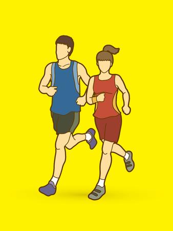 running: Man and woman running together, marathon runner graphic vector. Illustration