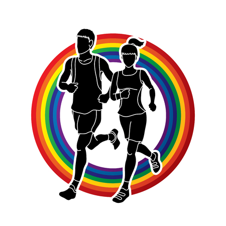fast foot: Man and woman running together, marathon runner designed on rainbows background graphic vector