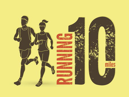 fast foot: Man and woman running together with text marathon running number graphic vector. Illustration