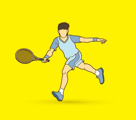 running: Tennis player running, Man play tennis movement vector. Illustration