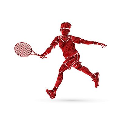 Homem jogando tênis Foto de archivo - 80608291