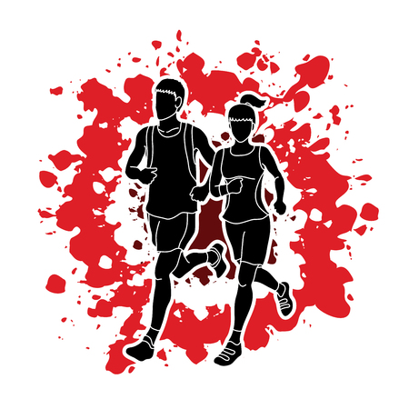Man and woman running together, marathon runner designed on splash colors background graphic vector