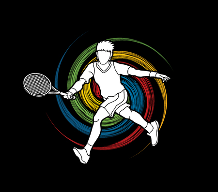 screen printing: Tennis player running , Man play tennis movement designed on spin wheel background graphic vector.