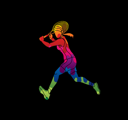 Tennis player running , Woman play tennis designed using melting colors graphic vector. Illustration