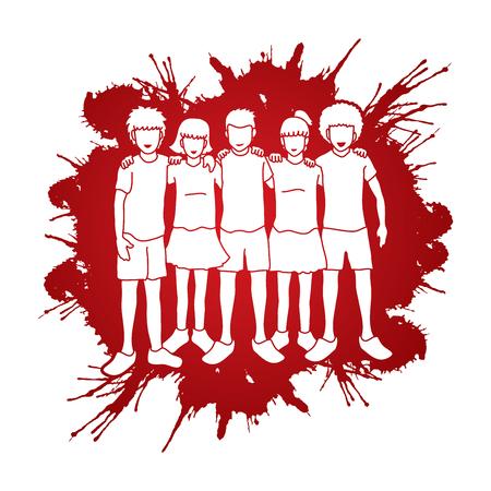 Detener el abuso infantil, grupo de niños se arman alrededor del hombro del otro, niños abrazados diseñados con salpicaduras de sangre, fondo, gráfico, vector. Foto de archivo - 80945596