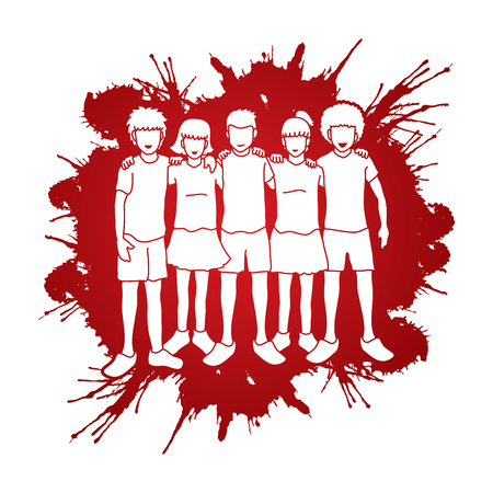 Stop kindermishandeling, groep kinderen arm rond iemands schouder, kinderen knuffelen ontworpen op splatter bloed achtergrond grafische vector. Stock Illustratie