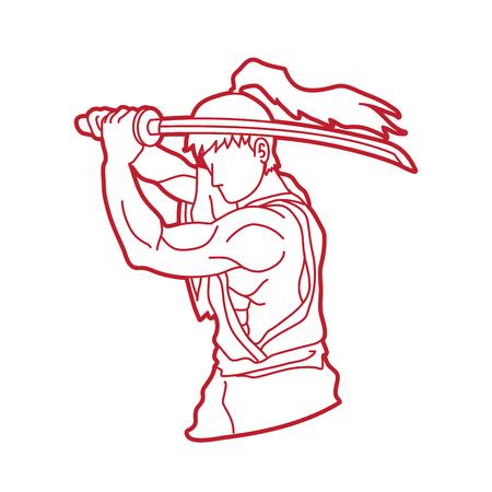 Samurai with sword katana, Sword man ready to fight outline graphic vector