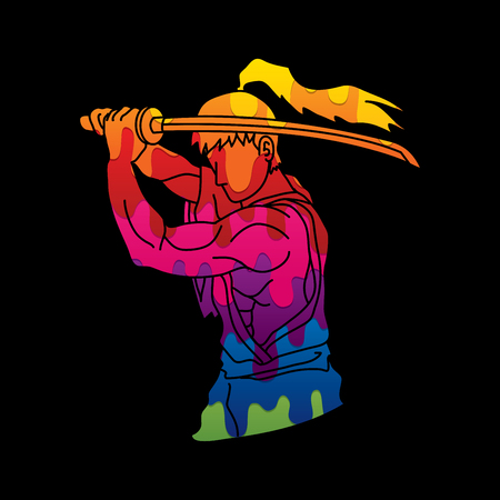 Samurai with sword katana, Sword man ready to fight designed using abstract melting colors graphic vector Illustration