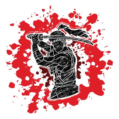 Samurai with sword katana, Sword man ready to fight designed on splash blood background graphic vector.
