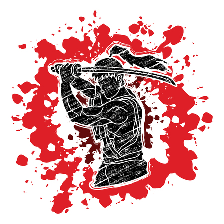 Samurai with sword katana, Sword man ready to fight designed on splash blood background graphic vector.