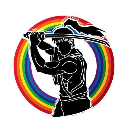 Samurai with sword katana, Sword man ready to fight designed on rainbows background graphic vector