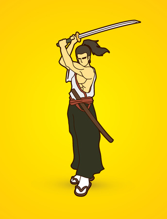 Samurai standing with sword katana, Ready to fight graphic vector
