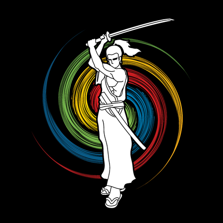 bushido: Samurai standing with sword katana, Ready to fight designed on spin wheel background graphic vector