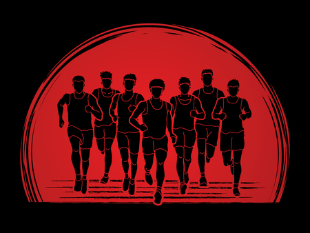 Marathon runners, Group of people running, Men running designed on sunlight background graphic vector.