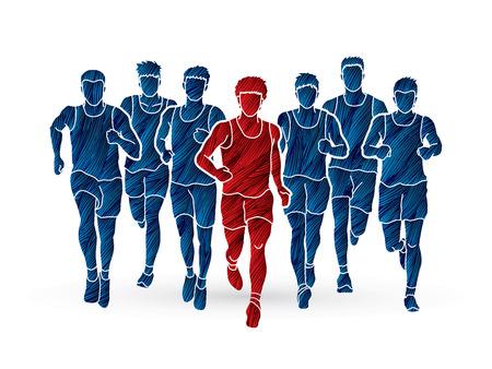 Marathon runners, Group of people running, Men running designed using grunge brush graphic vector. 向量圖像