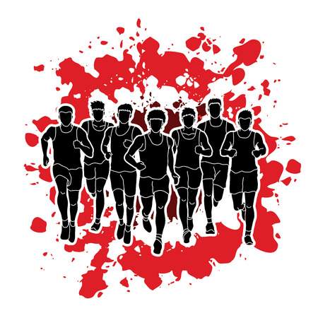 Marathon runners, Group of people running, Men running designed on splatter blood background graphic vector. Illustration