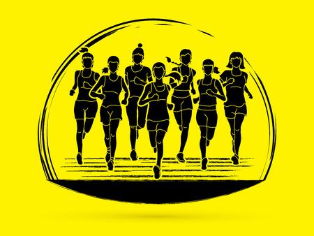 Women running, Marathon runners, Group of people running graphic vector.