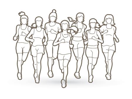 실행중인 여성, 마라톤 선수, 개요 그래픽 벡터를 실행하는 사람들의 그룹입니다.