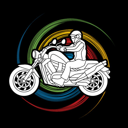 excursion: A man riding motorbike designed on spin wheel background graphic vector