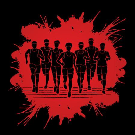 Marathon runners, Group of people running, Men running designed on splatter blood background graphic vector. Illustration