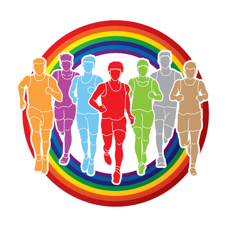 group fitness: Marathon runners, Group of people running, Men running designed on rainbows background graphic vector.