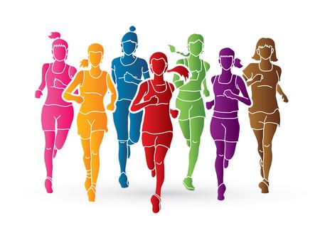 Mujeres corriendo, corredores de maratón, Grupo de personas corriendo vector gráfico.