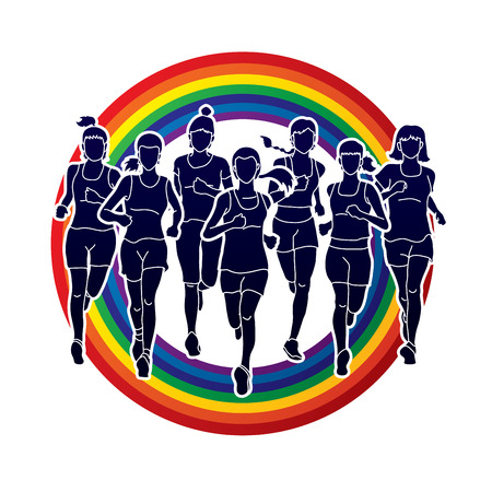 Women running, Marathon runners, Group of people running on rainbow background. Graphic vector. Illustration