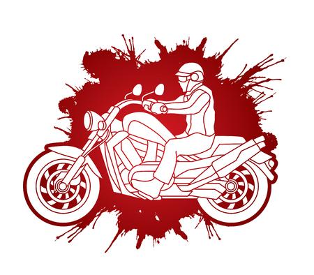 A man riding motorbike designed on splatter blood background graphic vector