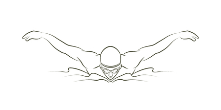 Swimming butterfly stroke, man swimming outline graphic vector Stock Illustratie