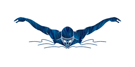 Swimming butterfly stroke, man swimming designed using blue grunge brush graphic vector 일러스트