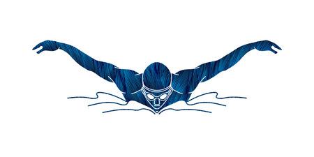 Pływacki motylkowy uderzenie, mężczyzna dopłynięcie projektował używać błękitnego grunge muśnięcia graficznego wektor