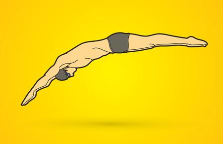 Man springen in het zwembad grafische vector Stock Illustratie