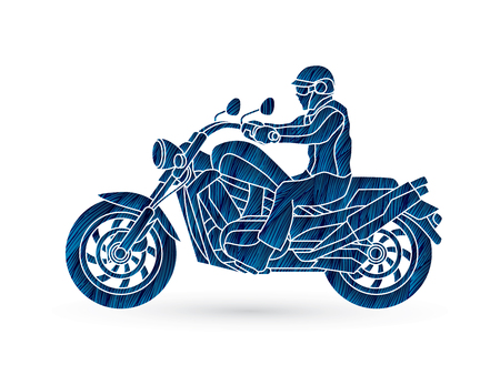 A man riding motorbike designed using blue grunge brush graphic vector