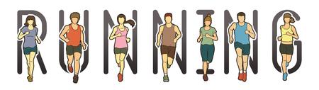 Ejecución de diseño de fuente de texto, corredores de maratón, grupo de personas corriendo, hombres y mujeres que ejecutan vector gráfico.