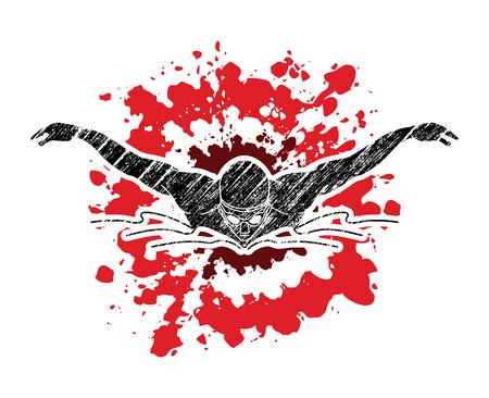 수영 나비, 튄 질감 벡터 그래픽에 설계된 수영 남자 일러스트