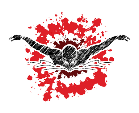 Natación mariposa, natación hombre diseñado en vector gráfico salpicado textura Ilustración de vector