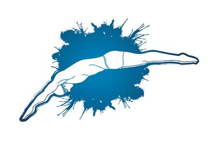 튄 물 그래픽 벡터에서 설계된 수영장에 점프 남자
