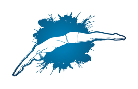 Man jumping into swimming pool designed on splatter water graphic vector